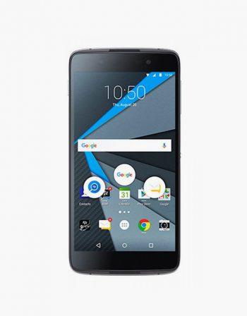 Front image of the Blackberry DTEK50 with black casing.