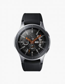 The Samsung Galaxy Watch R800 with analog design, round AMOLED display, and dark straps.